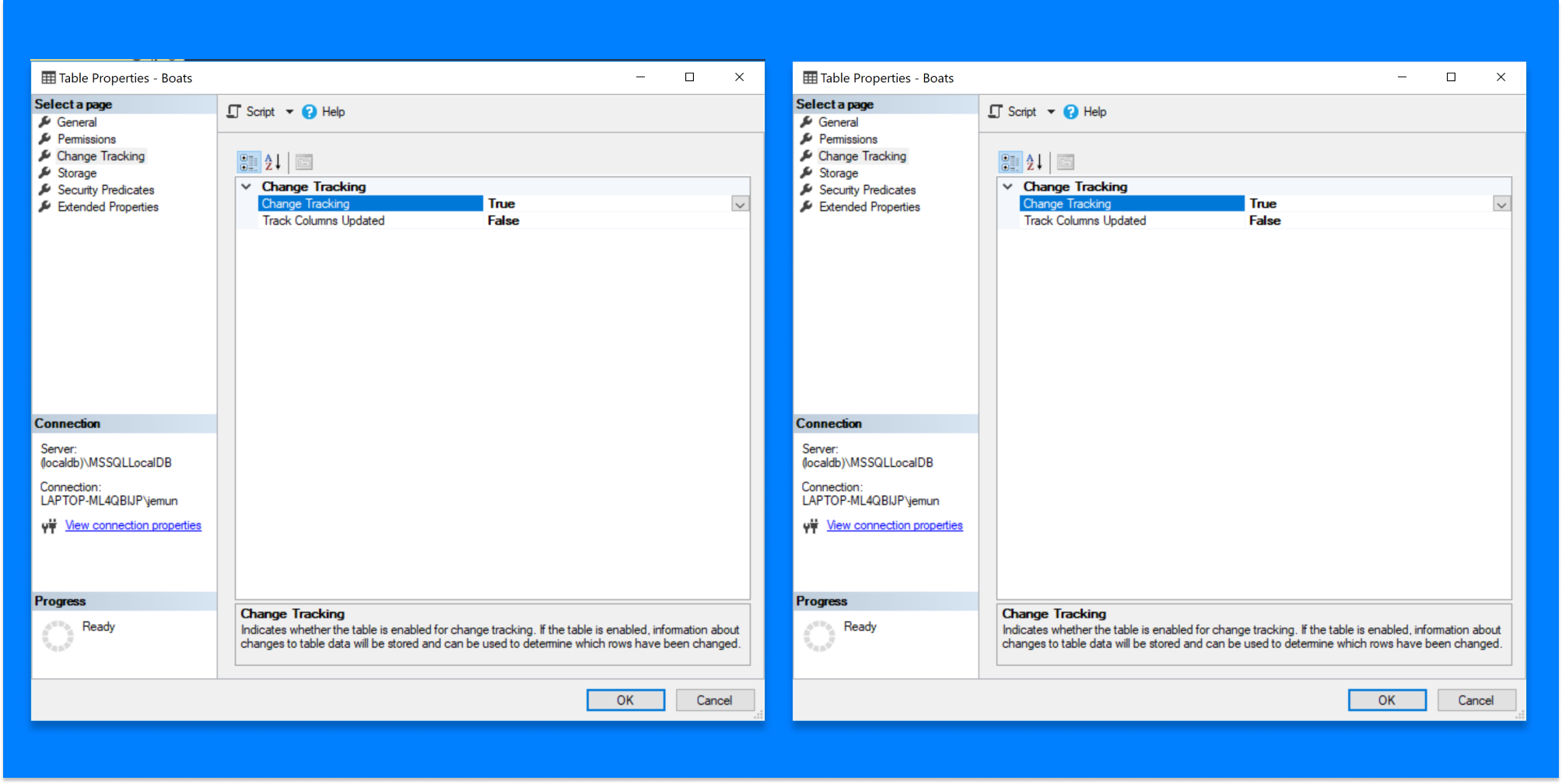 Enabling SQL Azure change tracking on the database (left) and the table (right) using SQL Server Management Studio.