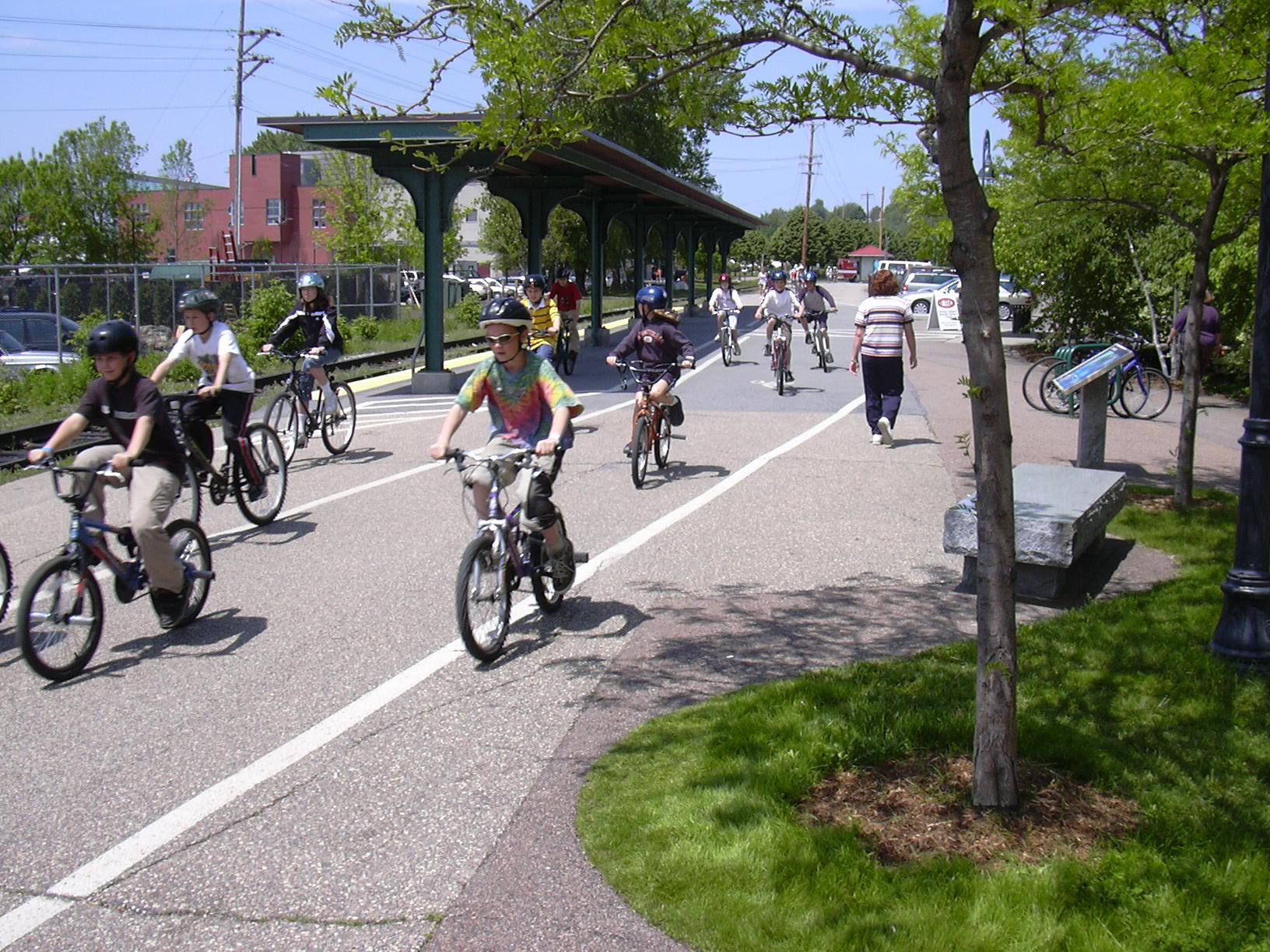 Champlain students enjoying the bike path