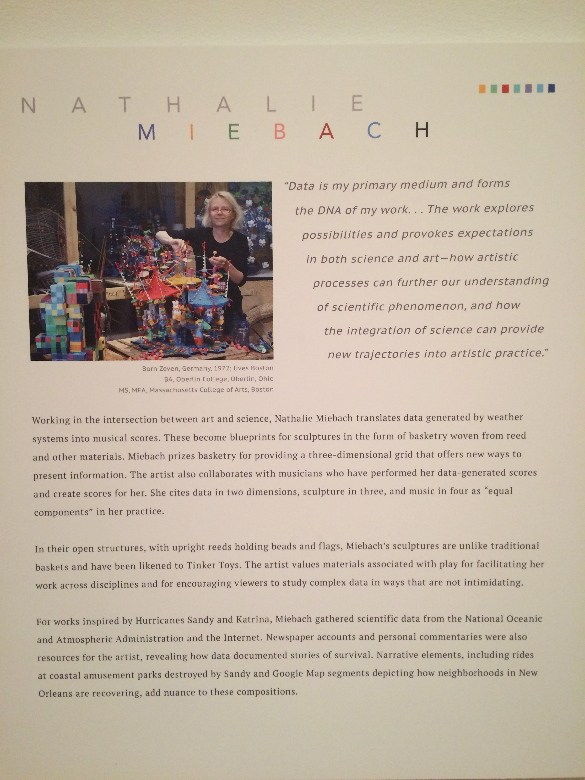 Description of Miebach's approach to her work posted at   Intersections   installation at Akron Art Museum October 1, 2016 through January 15, 2017.