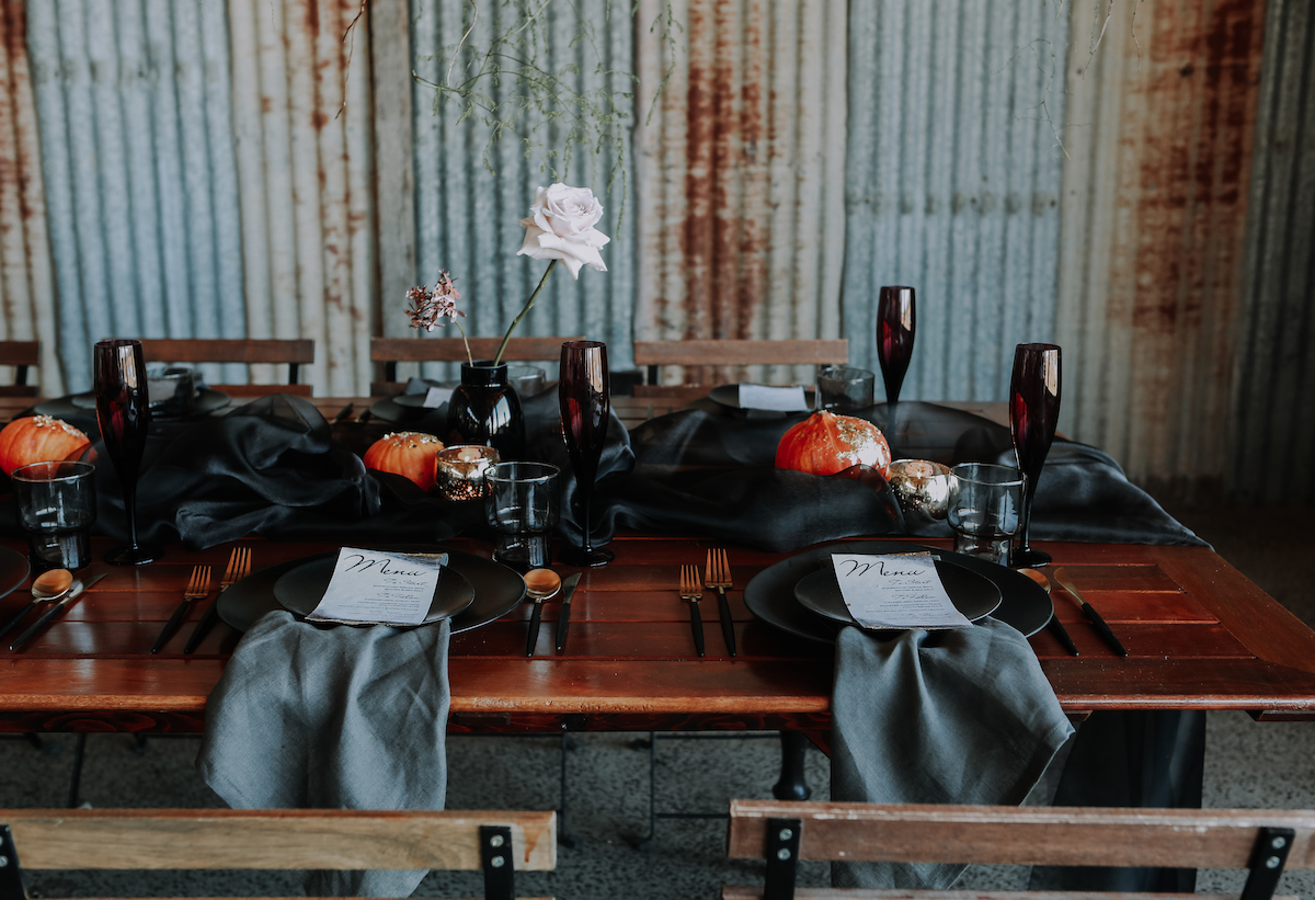 Bloodwood Botanica | Dark moody wedding table