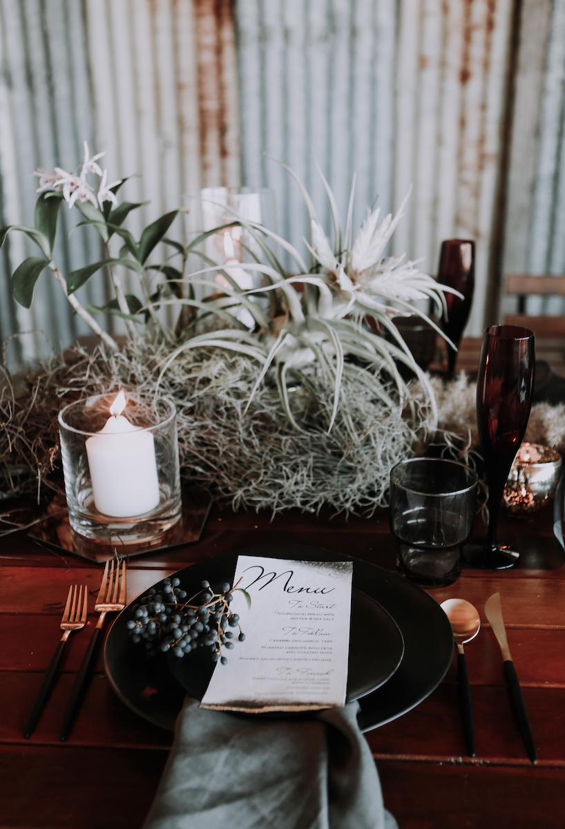 Bloodwood Botanica | Dark moody wedding table setting