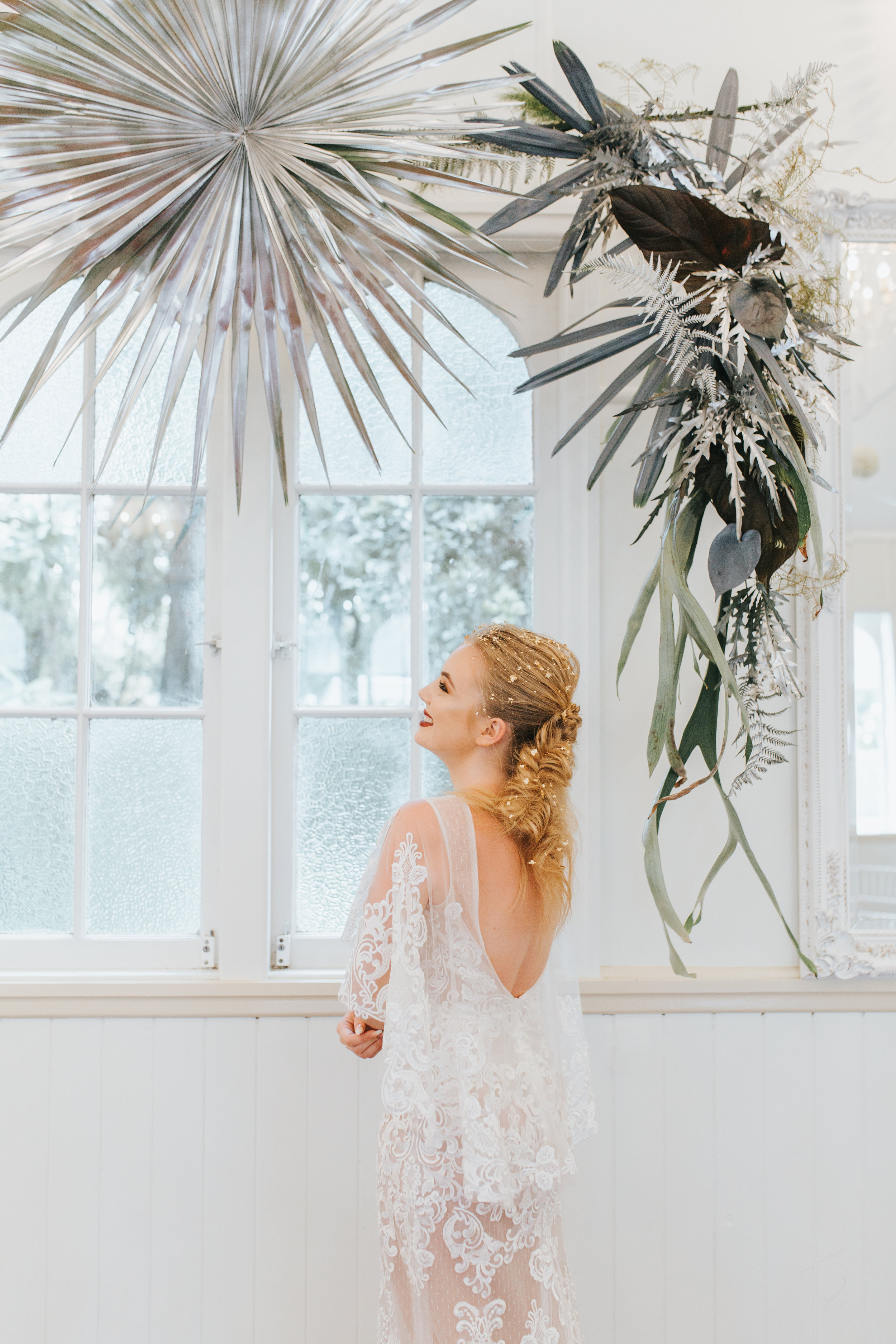 Bloodwood Botanica | Floating silver wedding arbour