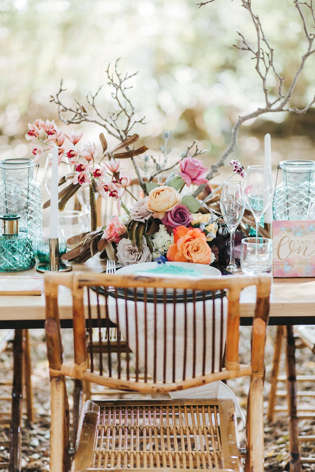 Bloodwood Botanica   Bohemian bright wedding table setting