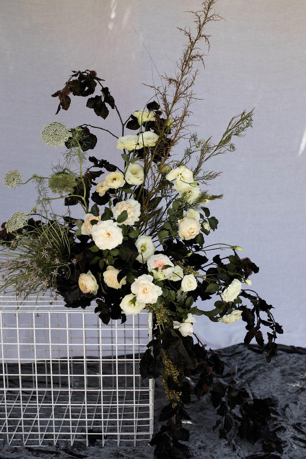 Bloodwood Botanica | floral white wire plinth