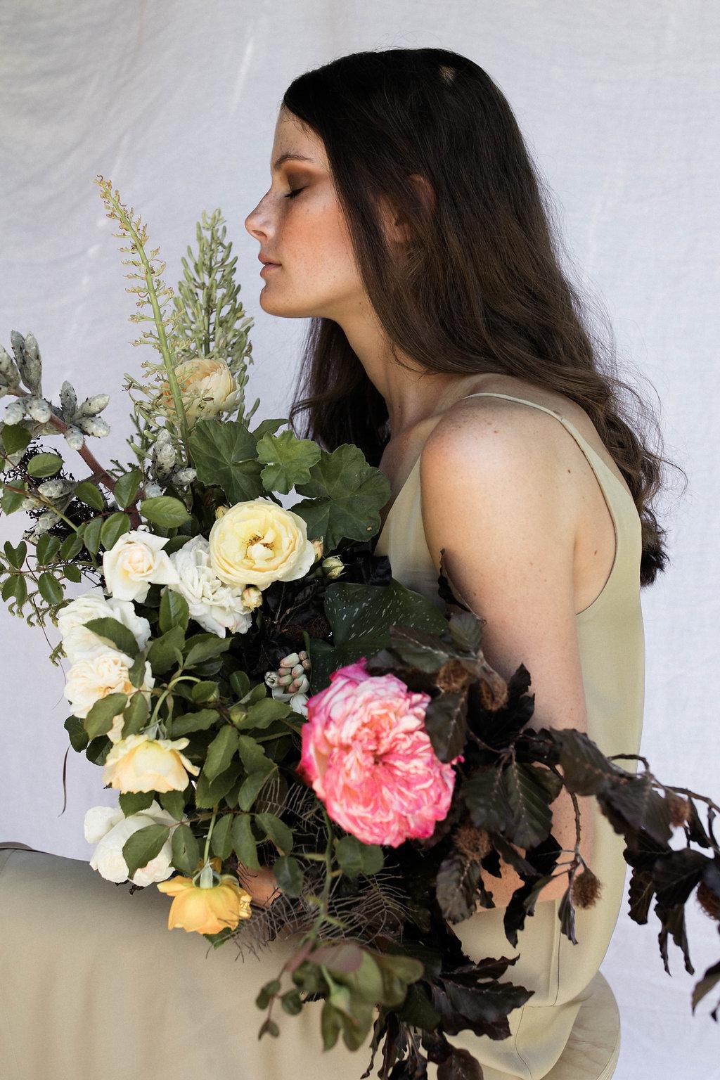 Bloodwood Botanica | BARE Bright sculptural wedding bouquet