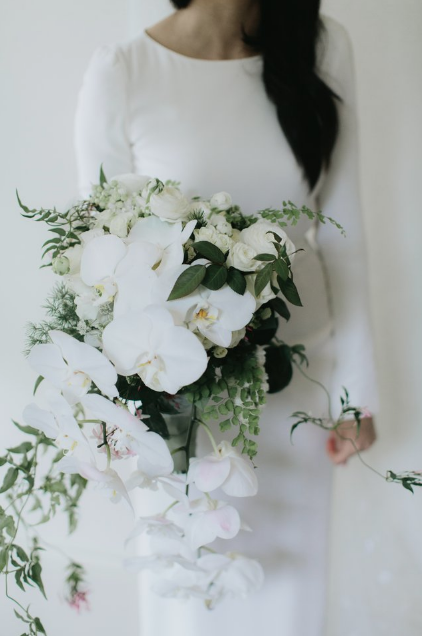Bloodwood Botanica   white orchid wedding bouquet