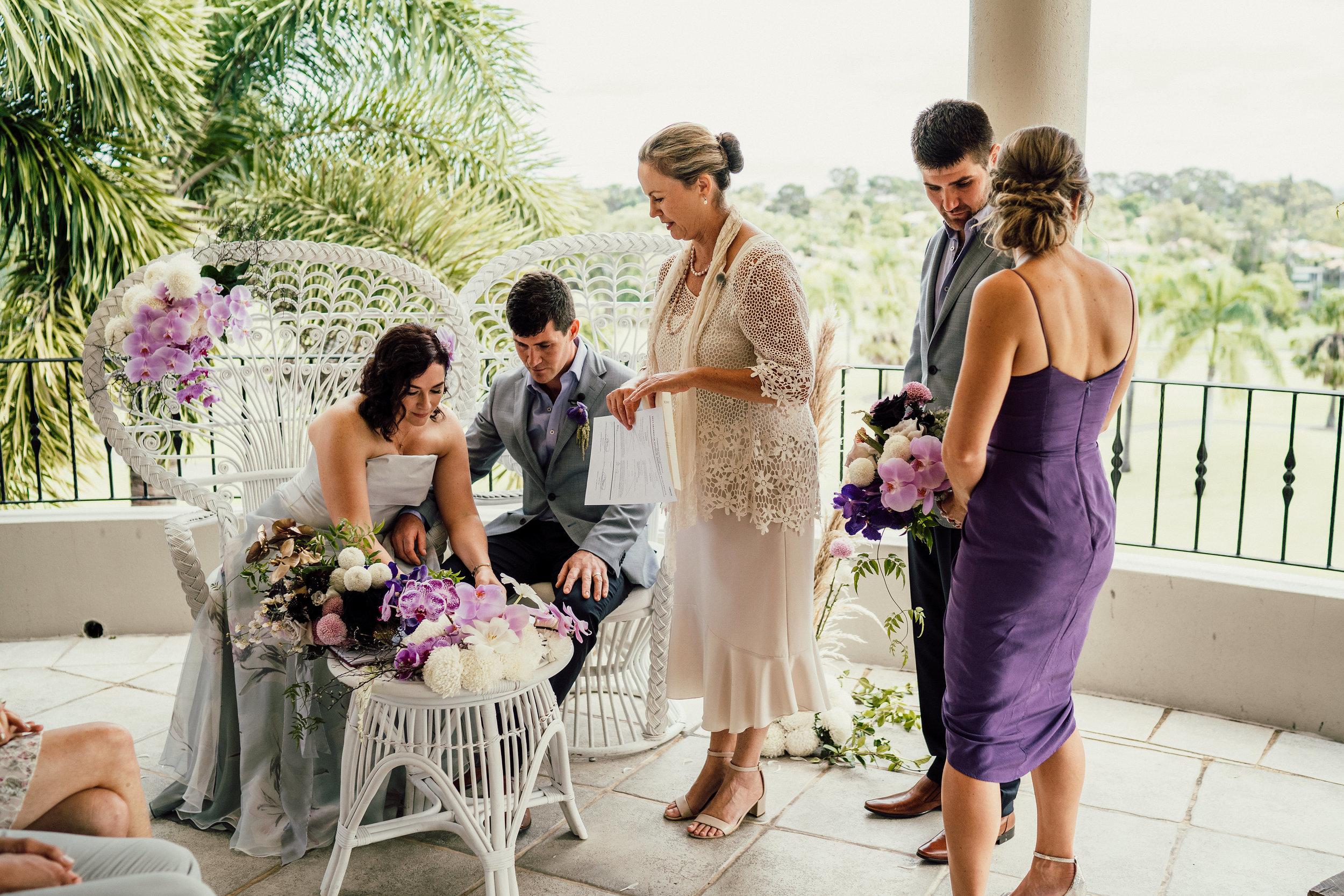 Bloodwood Botanica | Noosa Springs wedding signing table