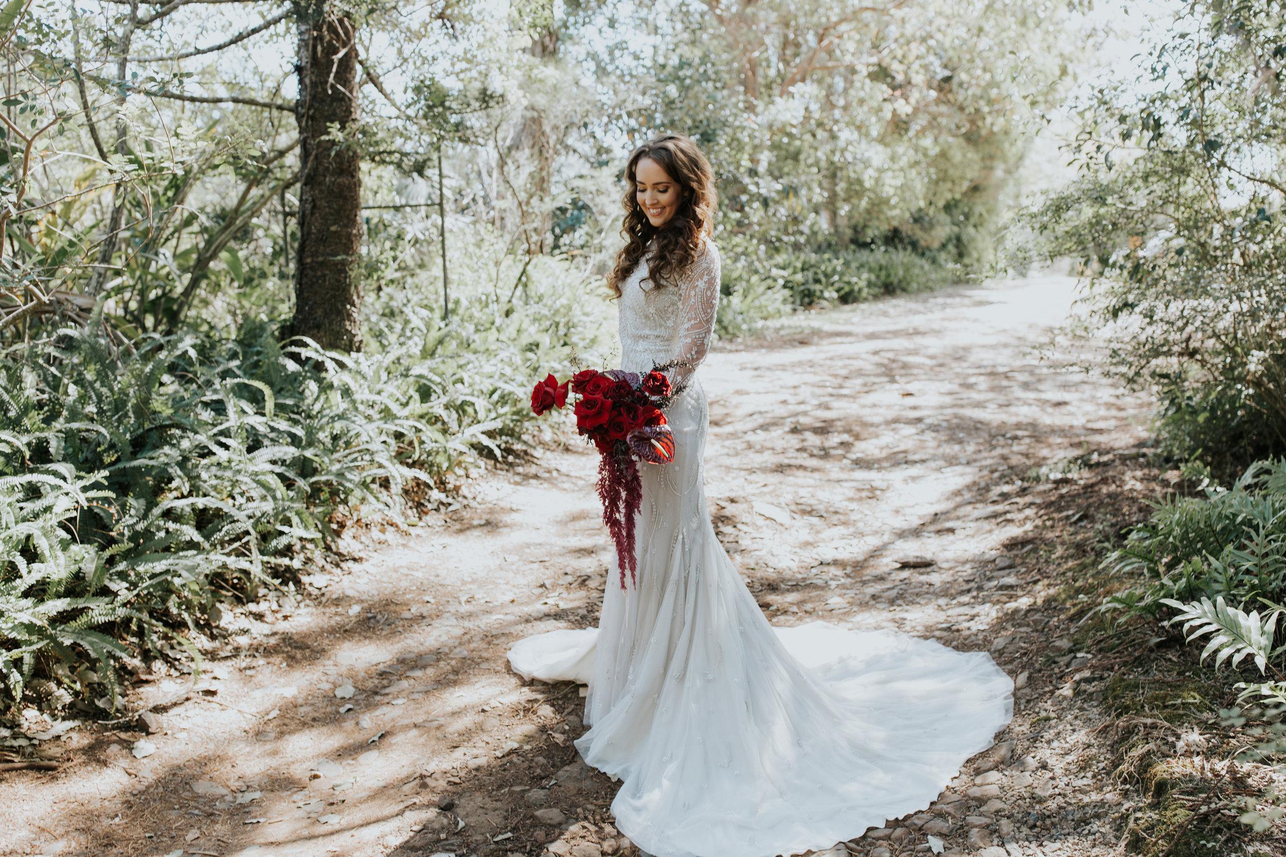 Bloodwood Botanica | Red Bridal Bouquet noosa sunshine coast wedding flowers