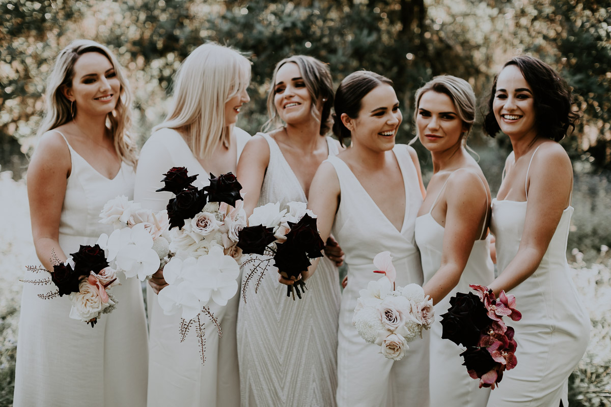 Bloodwood Botanica | Bridesmaids bouquet black and white noosa wedding flowers