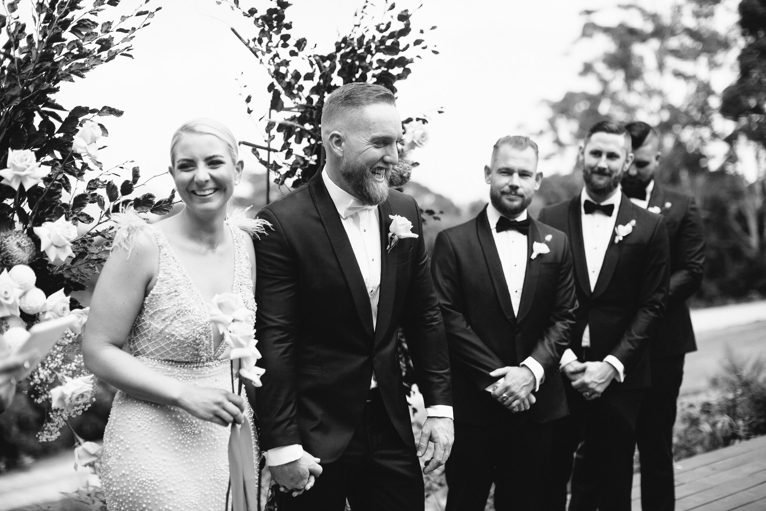 Bloodwood Botanica | Happy couple byron bay wedding flowers