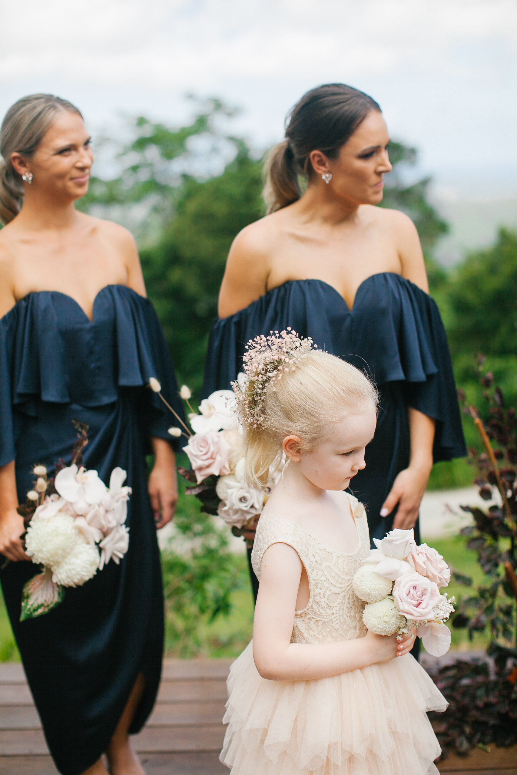 Bloodwood Botanica | Bridesmaids flowergirl byron bay wedding flowers