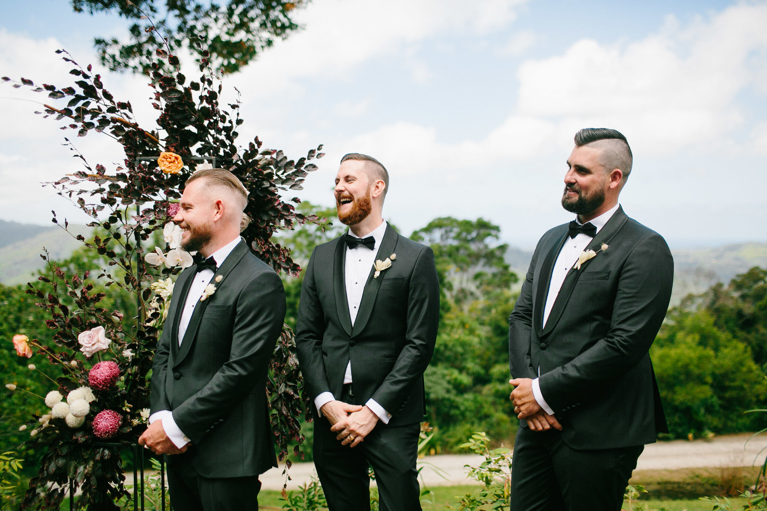 Bloodwood Botanica | Groomsmen grooms hunks byron bay wedding flowers