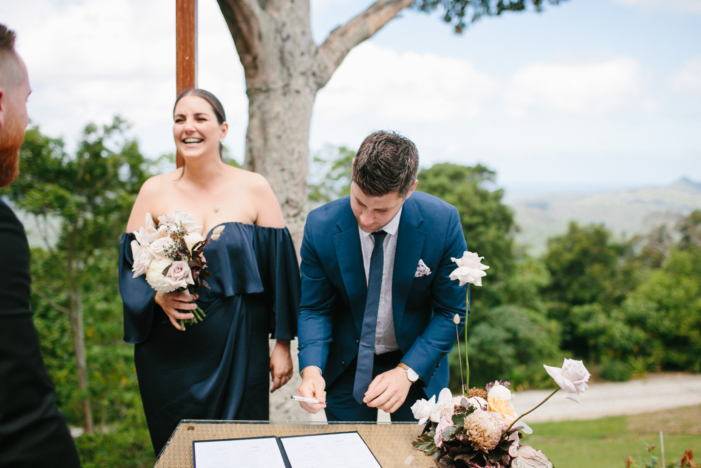 Bloodwood Botanica | signing table arrangement byron bay wedding flowers