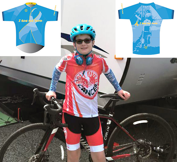 I Ride for David Presale - We're honored to present the I Ride for David jersey and tech tee. Designed in-house by Scottie Weiss with input from the family and Rogue Velo. The design uses David's favorite color - cyan - with gold to fight childhood cancer. The back incorporates the iconic image of David raising his arms. Order through June 26th with delivery estimated late July. Profits will be donated to the Carey family to help with expenses.