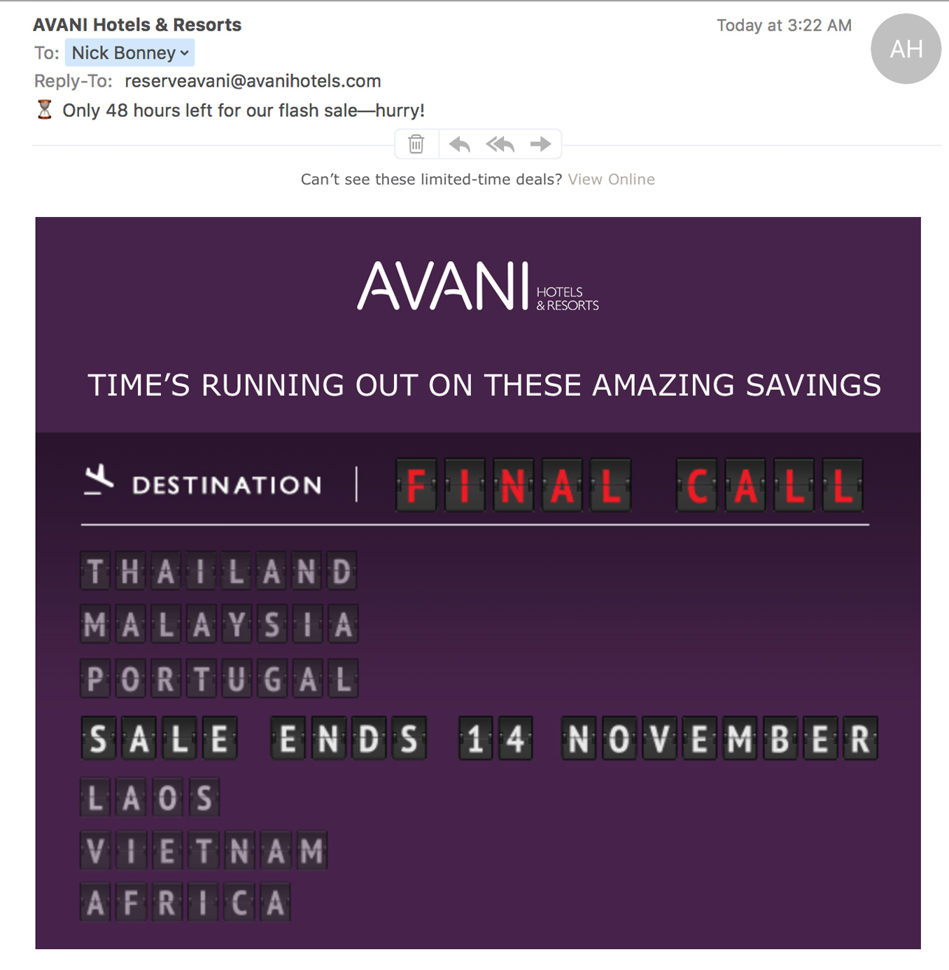 EMAIL: A creative approach and strong CTA to their 'special offer' campaigns
