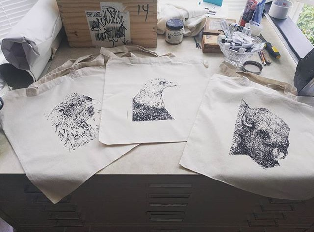 """""""Pardon our dust"""". The work station looks a mess right now, but it's crunch time for preparing for the Art for the Cash Poor show"""