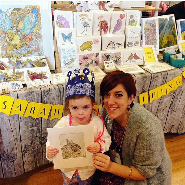 SarahDrawsThings  and her niece with a GKP print