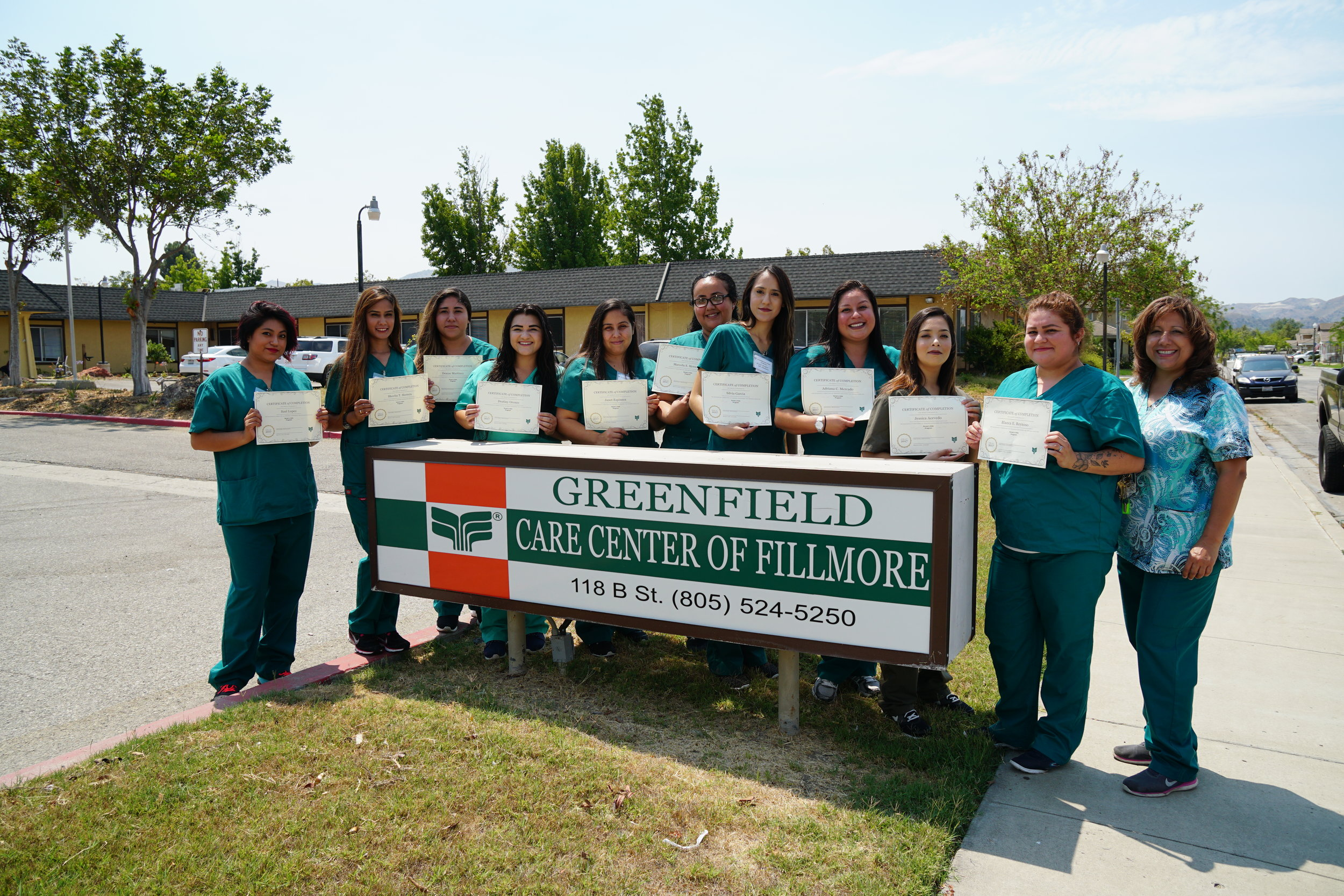 Greenfield Care Center in Fillmore has graduated their first 2017 CNA class. The next class will start on the second week of August. To register for the class please go to Greenfield Care Center at 118 B St in Fillmore to complete an application. The instructor Beatrice Colin/LVN will then schedule an interview with them.  Graduates from left to right are: Itzel Lopez,Shovita Herrera,Denise Martinez,Destiny Orozco,Janet Espinoza,Marcela Hernandez,Silvia Garcia,Adriana Mercado,Jessica Acevedo,Blanca Reynoso and Instructor: LVN Beatrice Colin