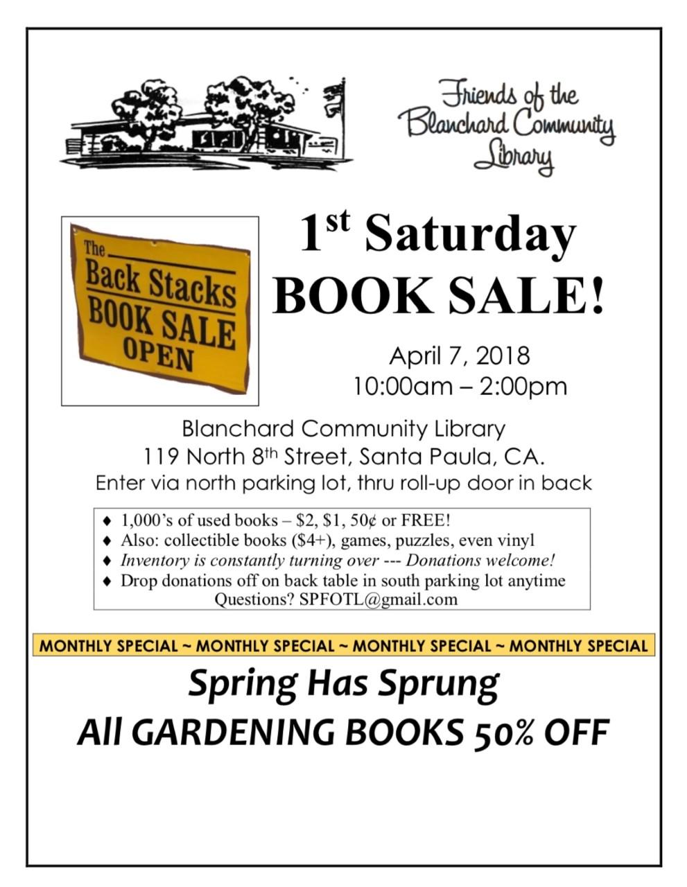 1st Saturday Book Sale Sat April 7, 2018.jpg