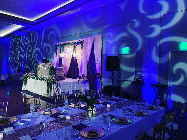The wedding ceremony and reception setup from a wedding I DJ'ed last month. Huge congrats to the beautiful bride and groom. •  #DJTanveer #weddingDJ #SouthAsian #Bollywood #baraat #IndianWedding #SouthIndianwedding #QSC #Uplighting #DJ #Party #CustomMonogram #KLA #Pioneer #Serato #gobo #bollywooddjs #hyatt #Hyattregency #Californialove