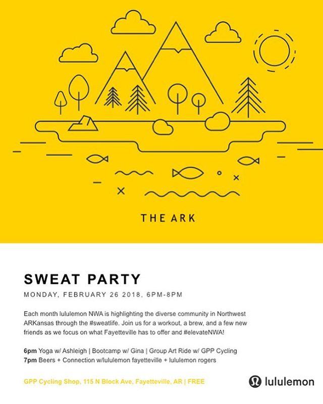 MOVE YOUR BODY MONDAY!! Join us Monday, Feb 26 @ 6 pm in front of @gppbikesfayetteville for @lululemon sweat party NWA!! Gina, Morgan, & I will be co-leading a boot camp and would love to see you there! Nothing like an end of the day sweat session and connecting with your community to kick your week off right! 💪🏻 #sweatlife