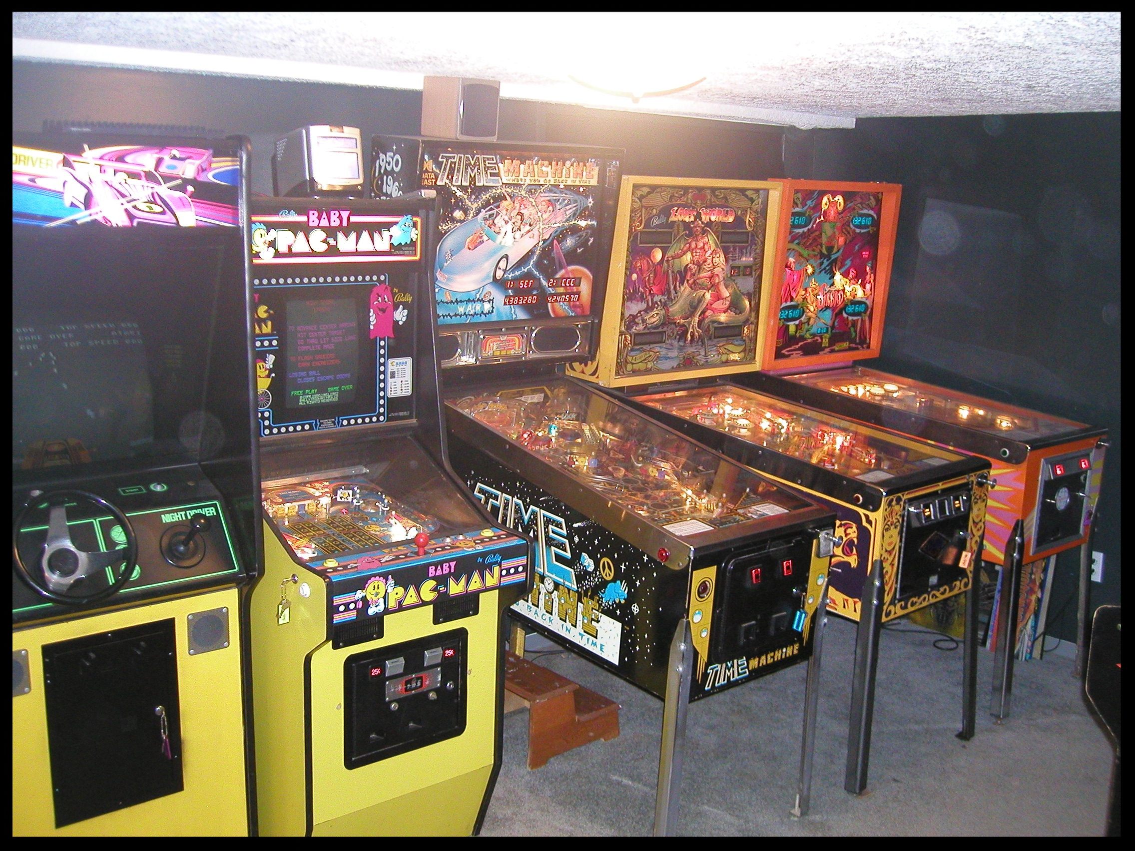 From left to right: Night Driver, Baby Pac-Man, Time Machine, Lost World, Sinbad