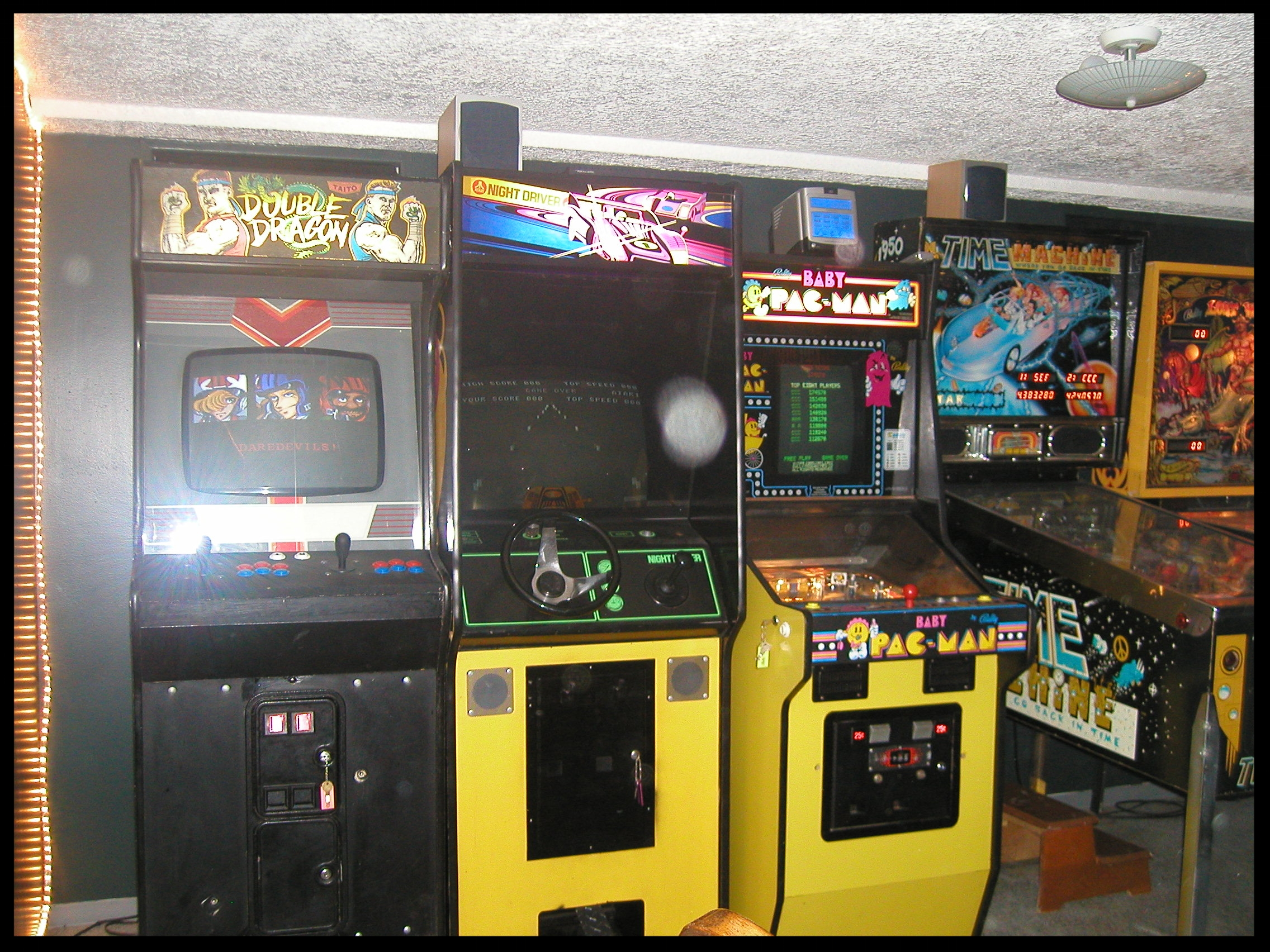 From left to right: Double Dragon, Night Driver, Baby Pac-Man, Time Machine