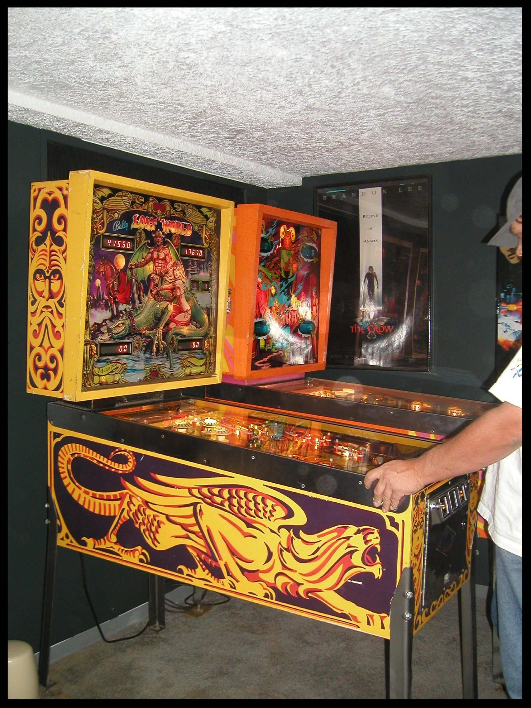 """An """"after"""" picture. That's Steve giving the machine a test run. You'll notice Sinbad next to the Lost World. At that point the game room was still pretty empty."""