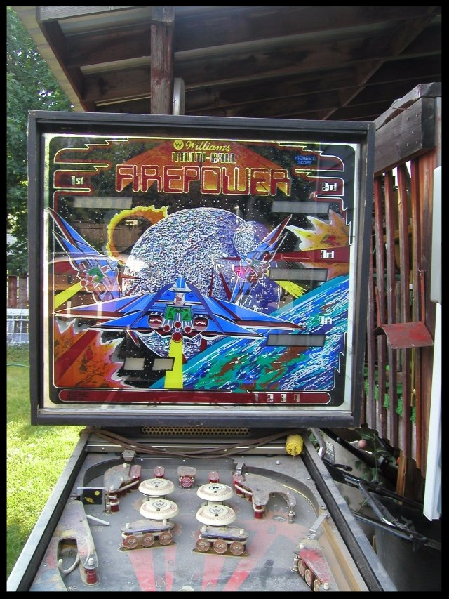 Steve picked up Firepower the day I bought Lost World. I got a heck of a deal. Steve got hosed. The machine was hammered with no boards inside. This machine (sans back glass) ended up going to pinball hell (aka the dump).