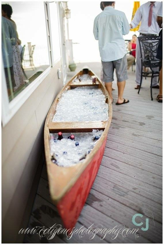 """One of my """"add-ons"""" available - a vintage wooden canoe that makes the perfect beverage cooler for cocktail hours and outdoor receptions!"""