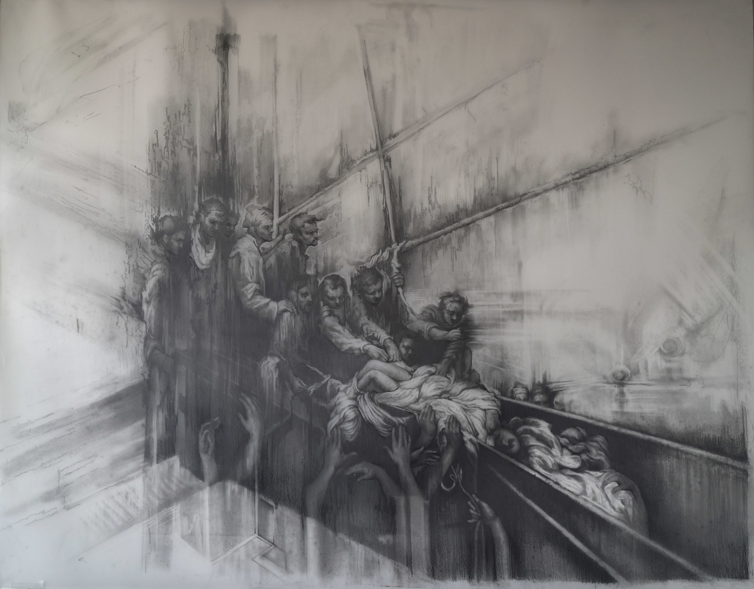 In the Wake  Graphite on Mylar. 55 x 43 inches. 2016