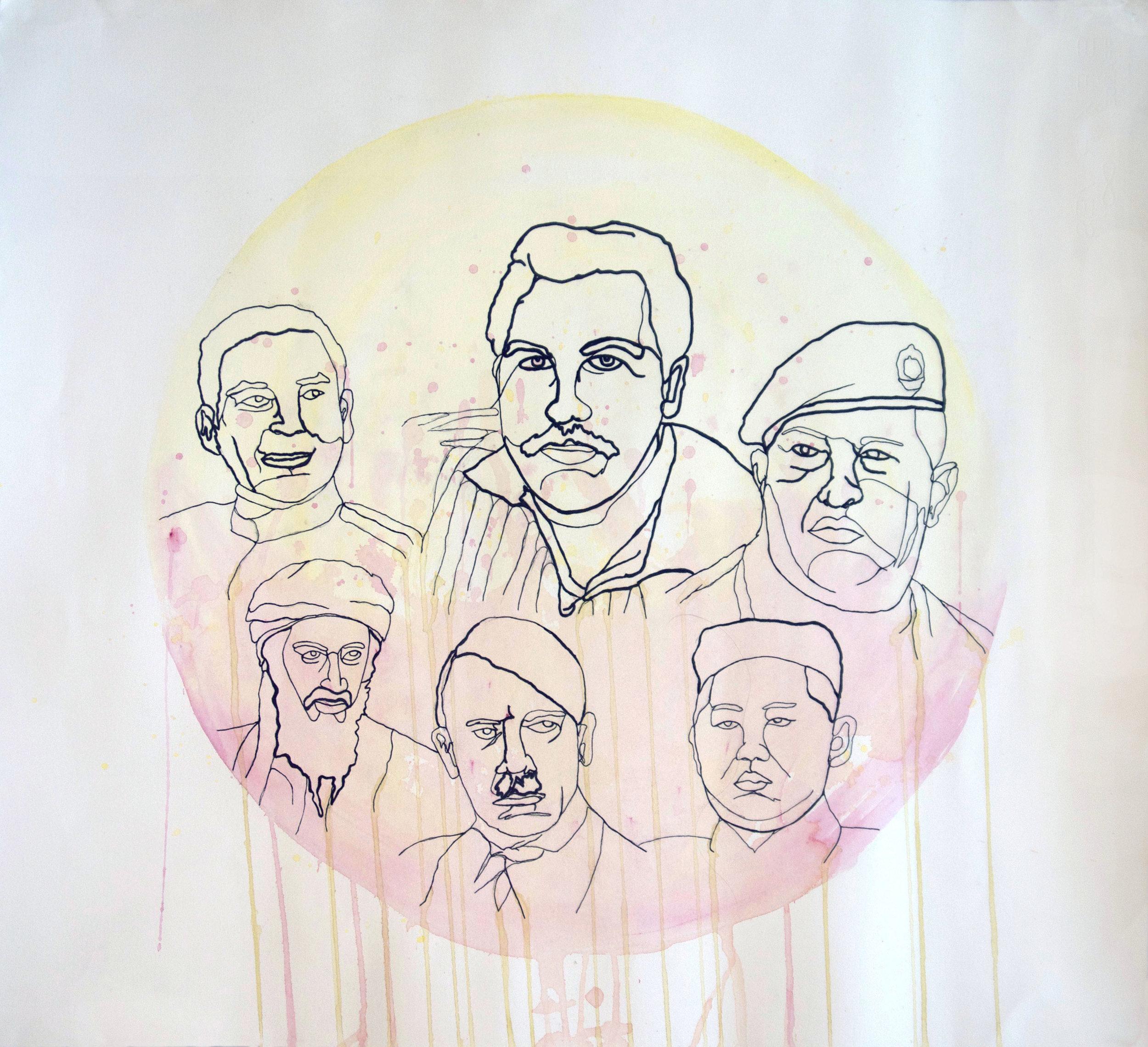From left to right: Fulgencio Batista, Pablo Escobar, Hugo Chávez, Osama Bin Laden, Adolf Hitler, Kim Jong-un