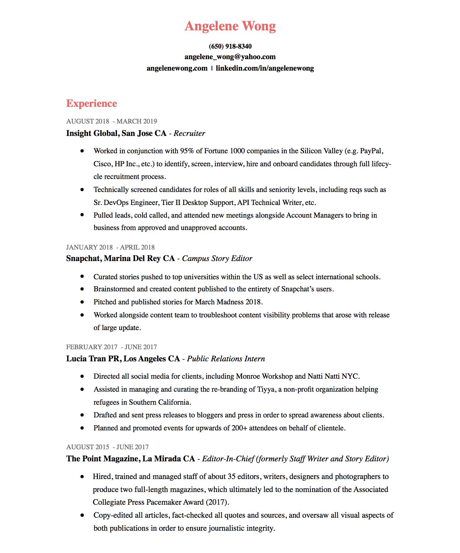 Resume — Angelene Wong