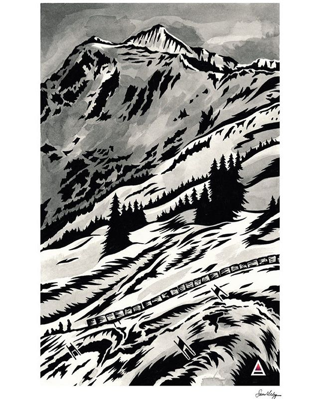"The Baker Banked is just a few weeks away! Remember the memories with a sweet 9.25 x 14"" print by the talented Tofino based, London born artist, Sarah King. Available now at alpenglogallery.com/shop for just $50!! 🤓🎨@sarahkingart @therealmtbakerskiarea #mtbaker #mtbakerskiarea #tofino #tofinobc #washingtonstate #pnw #northwesrartist #snowboardart #snowboarding #bakerbankedslalom #lbs #legendarybankedslalom #art #penandink #originalart #artforsale"