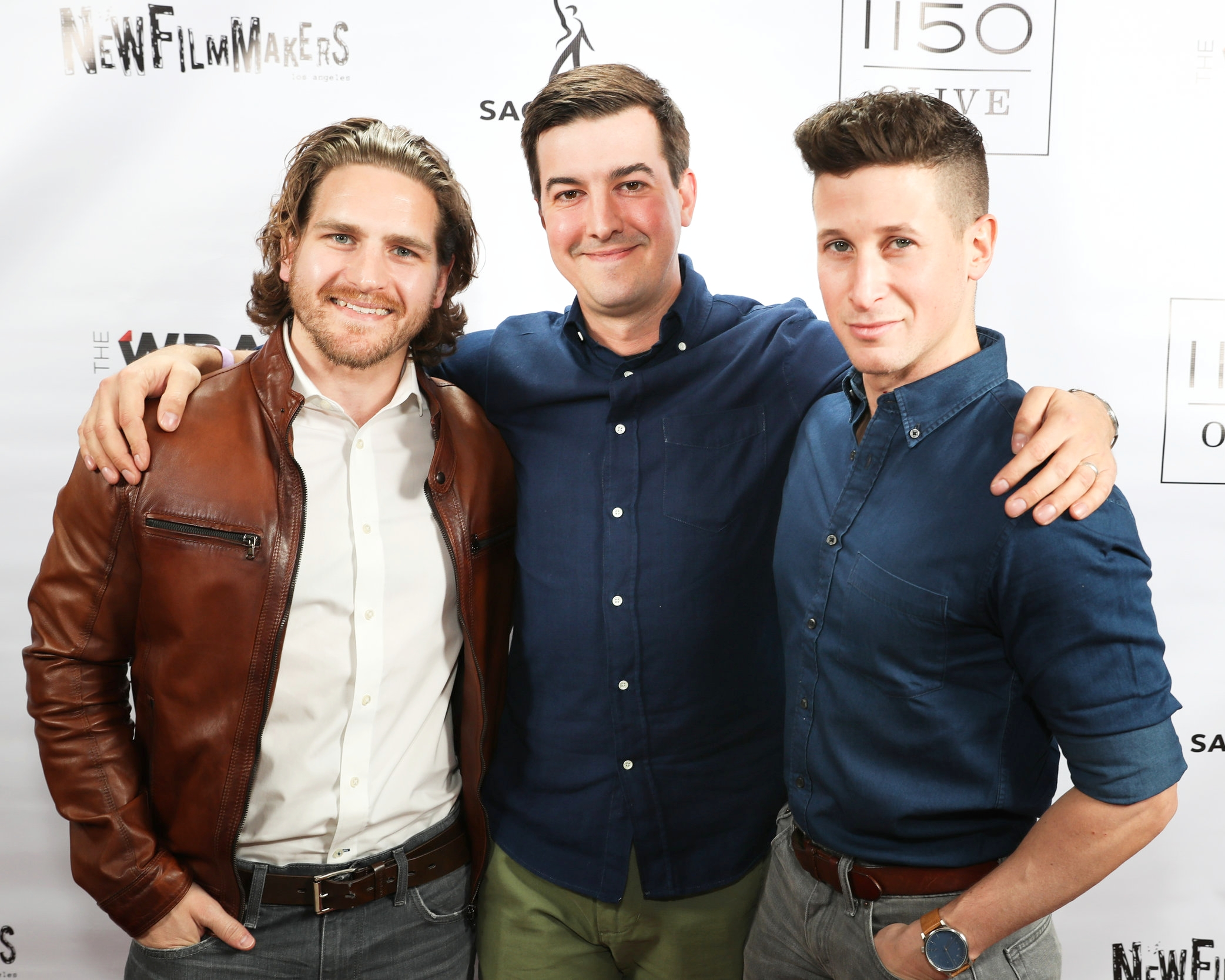 Morgan at the  New Filmmakers LA premiere of  The Massacre at Black Divide , with actor  Jeff Rosick  (left)and director  Steve Makowski (right).