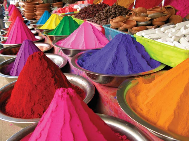 Coloured powders for Holi festival (Australian escorted tours to India)