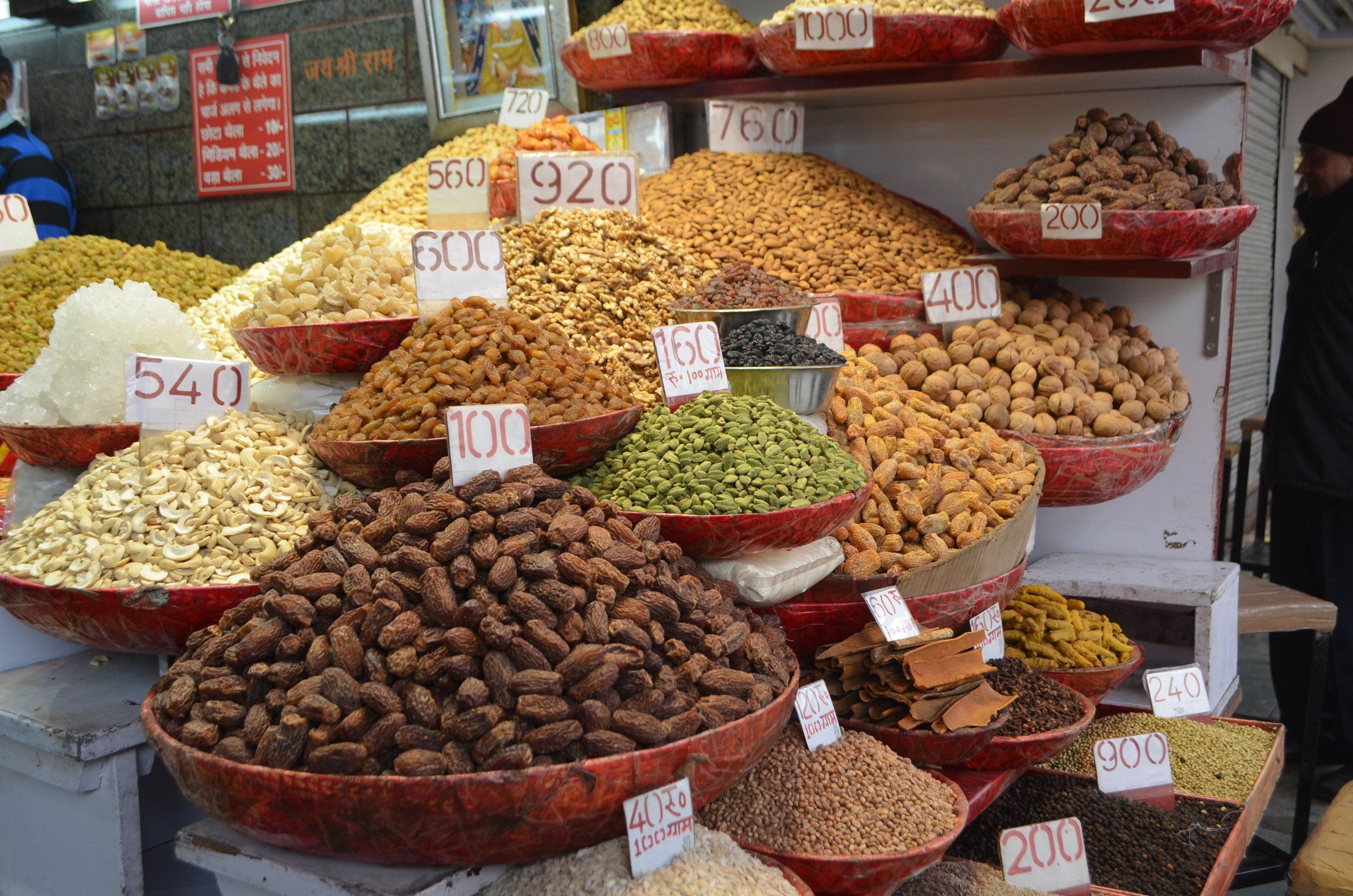 Old Delhi Market Nut shop Beacon Holidays India tours