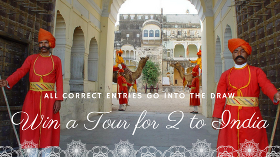 Golden Triangle Tour for 2 - All correct entries go into the draw to win a 5 nights 6 days tour of India's Golden Triangle including- 5 nights accommodation with daily breakfast.- Return airport transfers.- Private touring with a local guide to Old Delhi and Delhi city tour, Taj Mahal & Agra fort, Jaipur city tour and Amer fort.-Travel period May - September 2017*Winner will be picked on 18th May 2017