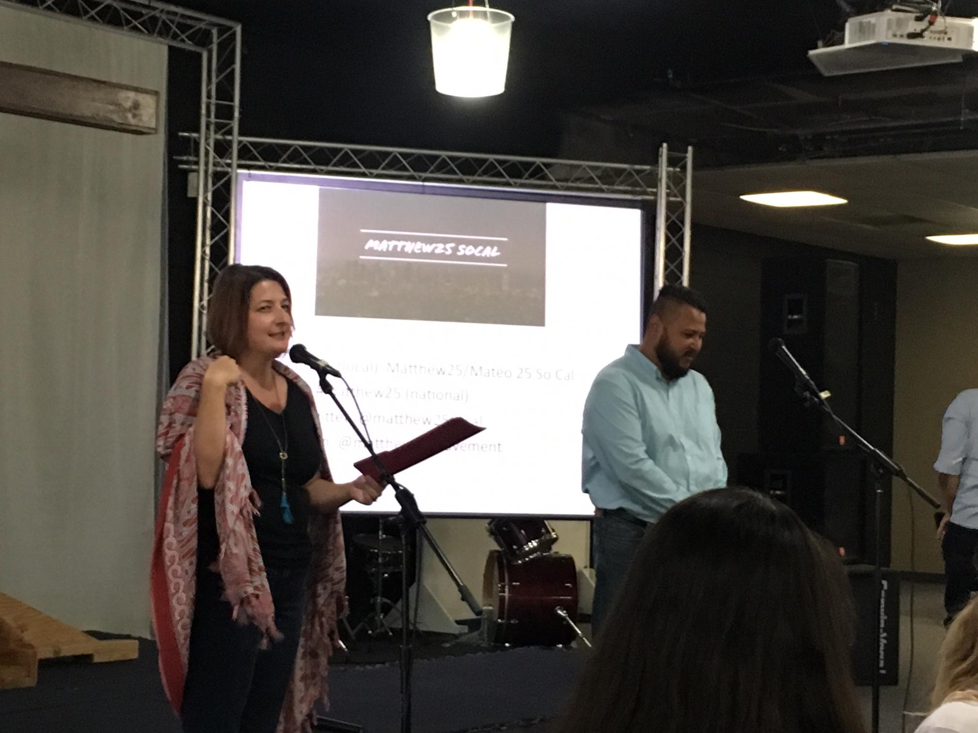 Dr. Robert and Erica Romero introduces Matthew 25 during leadership meeting
