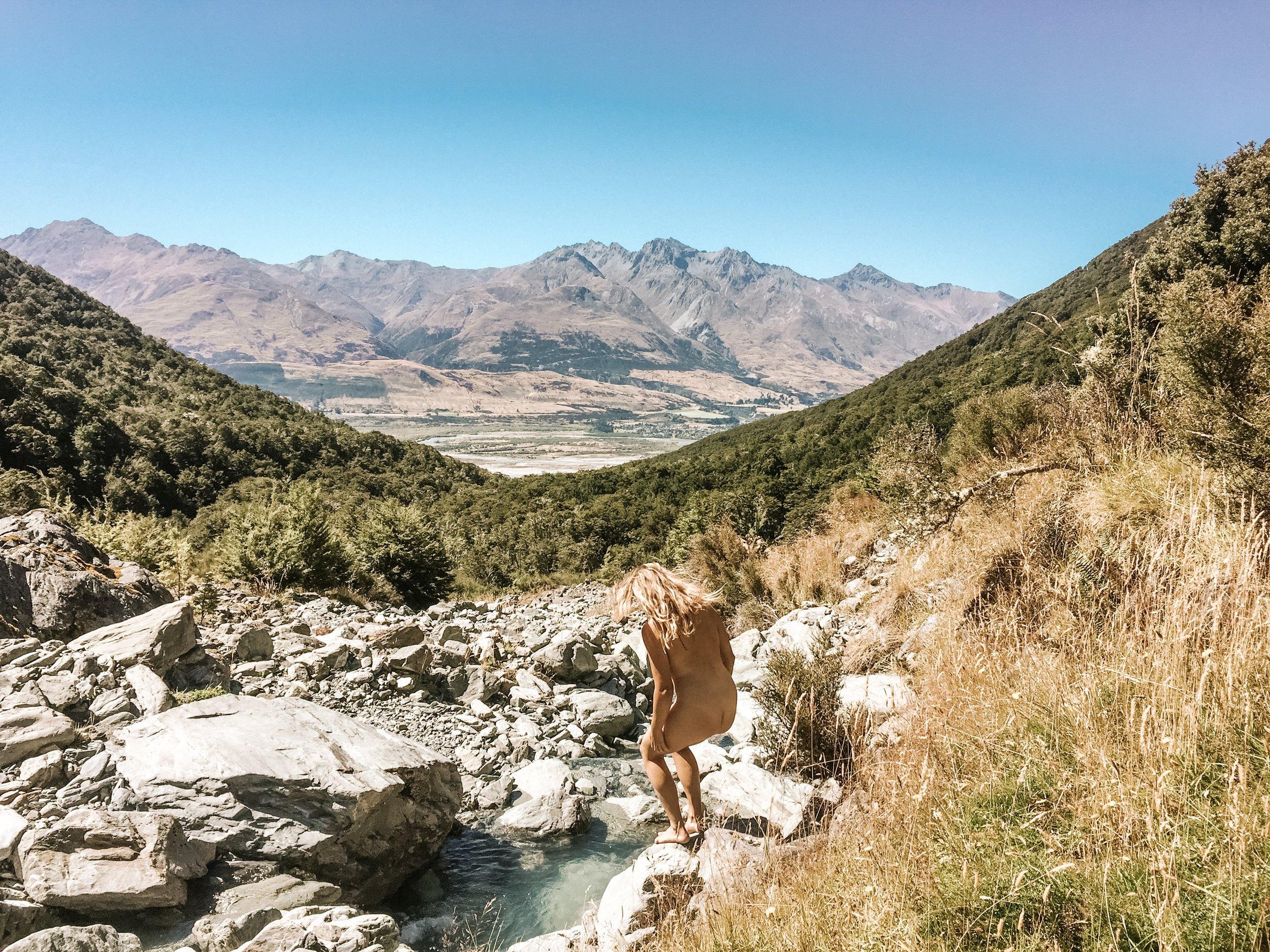 Having a refreshing dip post-steep climb up the Glacier Burn Track