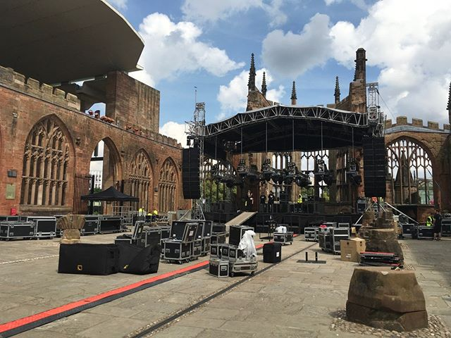 Now that's some backdrop for a gig! ⠀ This was the set up for the recent four-night series of gigs by The Specials in the stunning ruins of Coventry Cathedral. We were brought in by @DCBPromo to work on these incredible home town gigs for the band. ⠀ #eventprofs #healthandsafety #thespecials