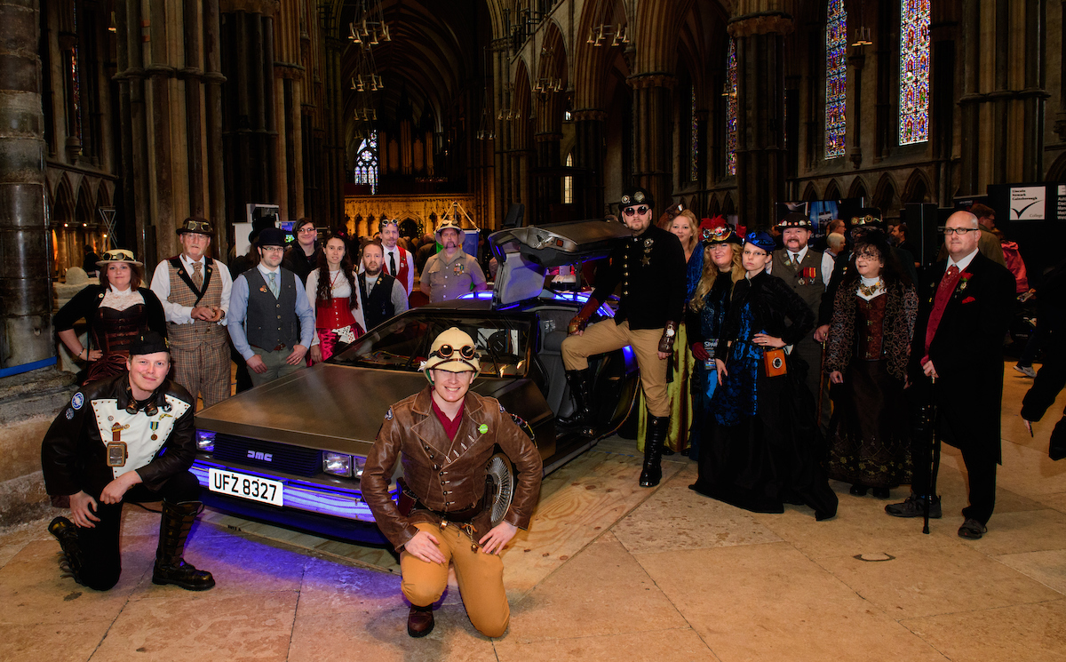 Steampunks with the Delorean time machine