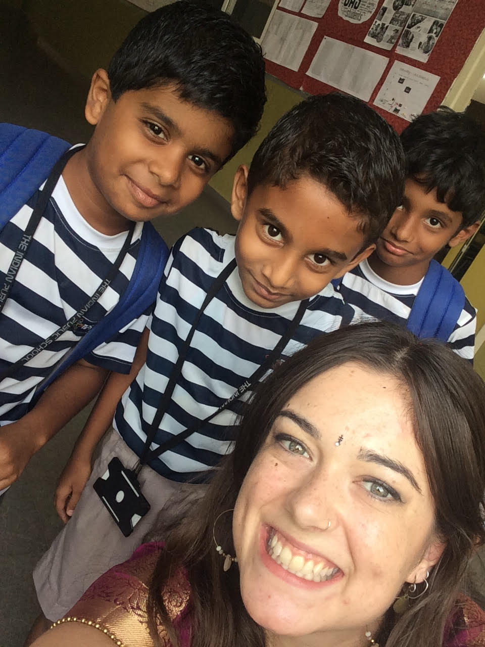 Christie in India with some of her students