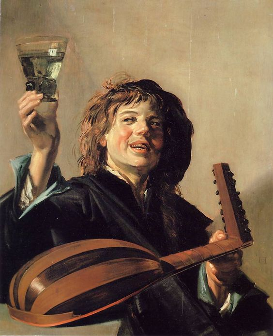 Lute player with wine glass, Frans Hals, 1626