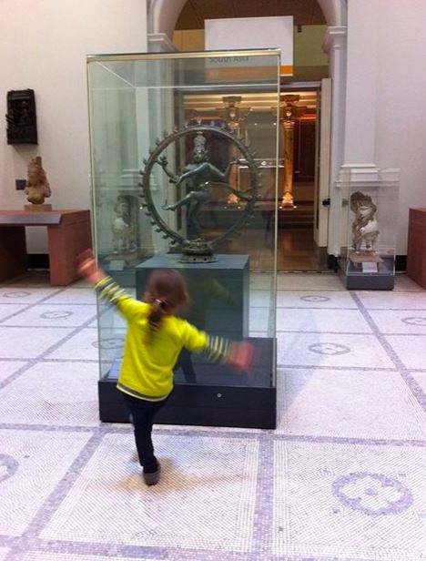 H with Shiva Nataraja, Lord of the Dance (Bronze sculpture, 12th Century, Tamil Nadu) Victoria & Albert Museum.