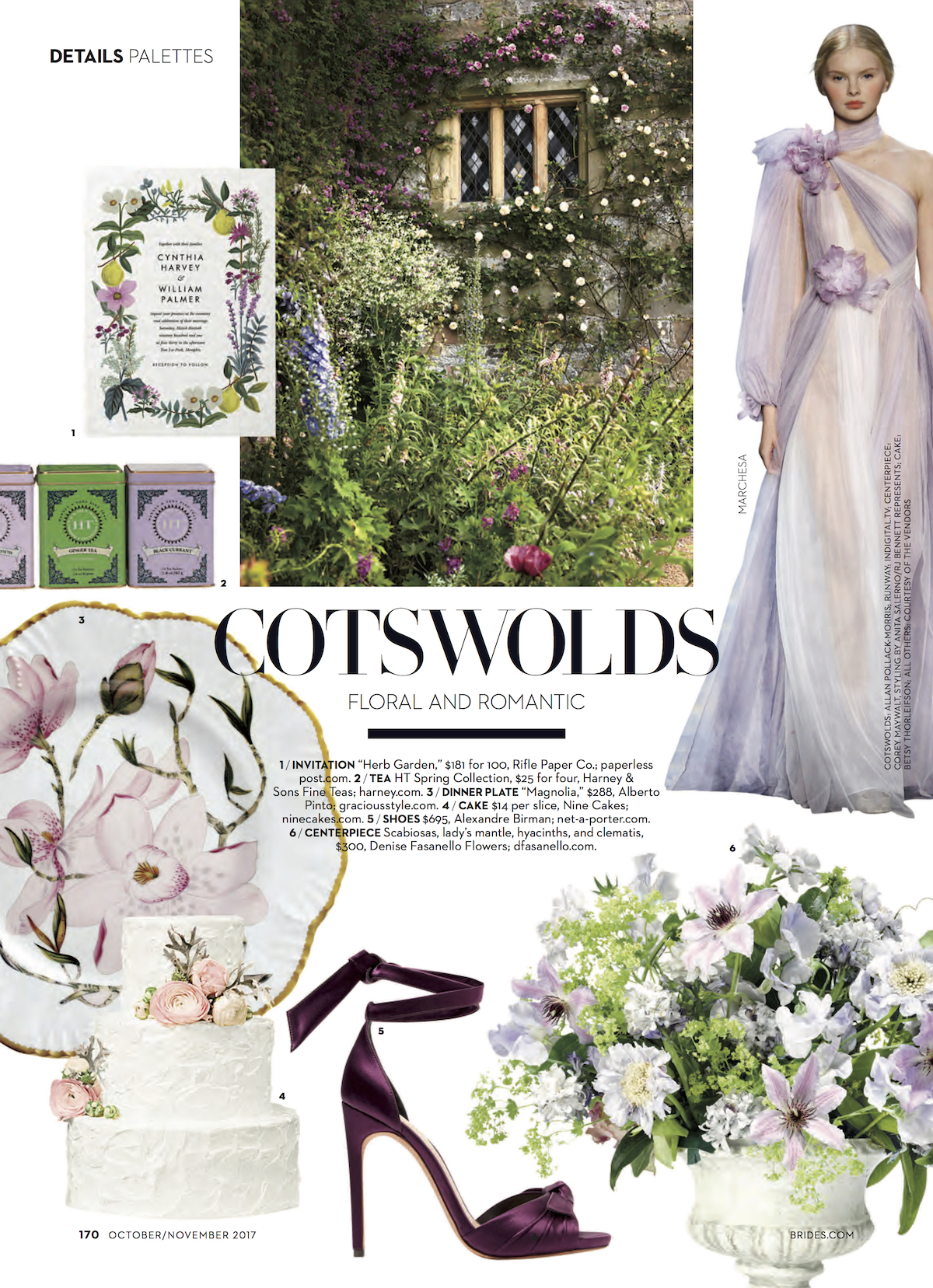 Brides Magazine - October November Issue 2017 - Details Palettes Section - Featuring Denise Fasanello Flowers.jpg