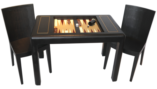 BACKGAMMON TABLE & JMF CHAIRS