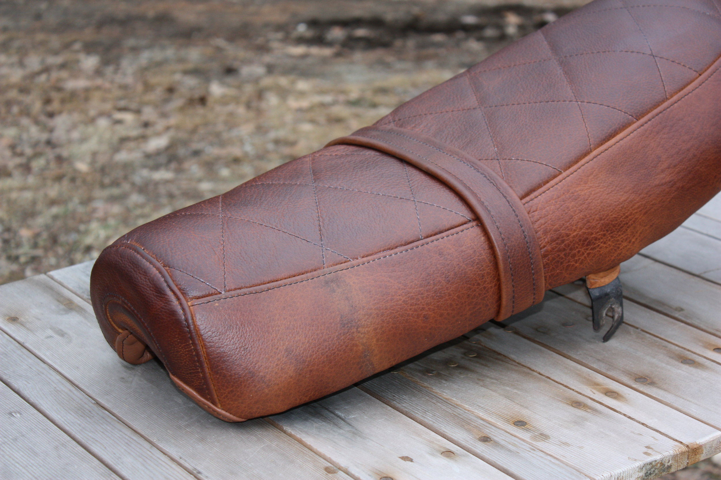 American bison leather seat for an early '70s-era Norton Commando