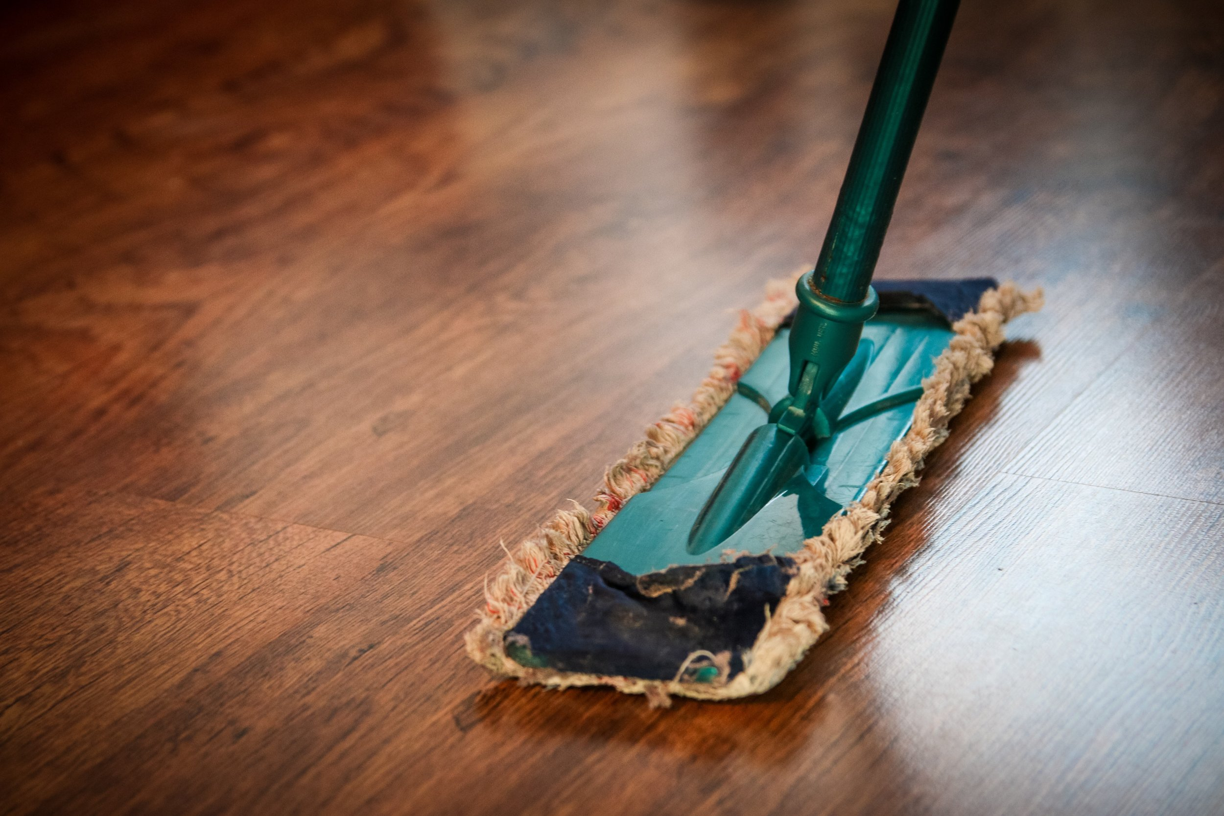 An image of a mop cleaning a wooden floor