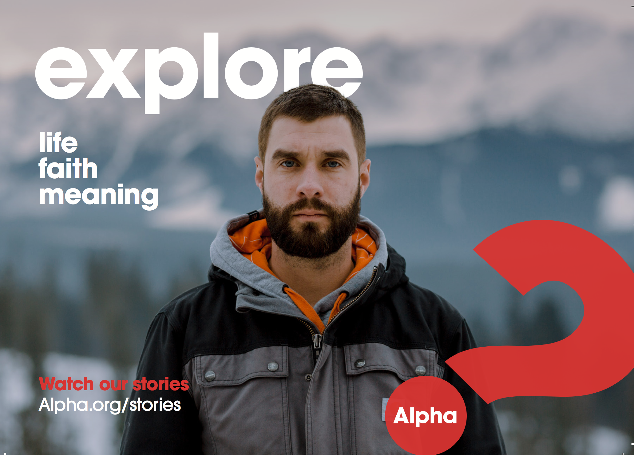 A photograph of a man in front of mountains advertising the Alpha Course